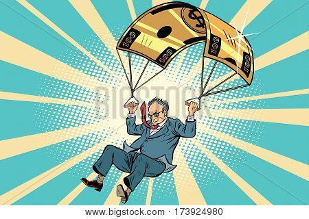 senior citizen Golden parachute financial compensation in the business. Comic book vintage pop art retro style illustration vector