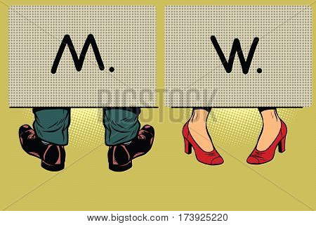 Male and female toilet. Gender differences. Comic book vintage pop art retro style illustration vector