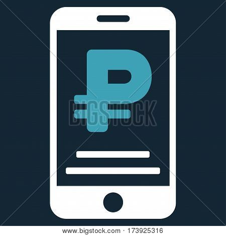 Rouble Mobile Payment vector pictograph. Illustration style is a flat iconic bicolor blue and white symbol on dark blue background.