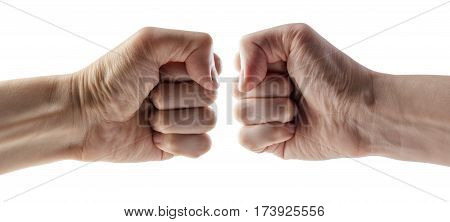 Male clenched fist, isolated on a white background with clipping path. Left and Right hand.