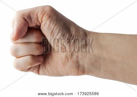 Male clenched fist, isolated on a white background with clipping path. Right hand.