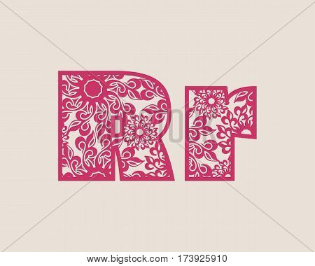 Decorative alphabet vector font. Letter R. Typography for headlines, posters, logos etc. Uppercase and lowercase symbols