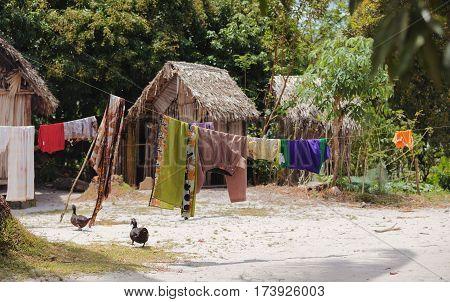 African Malagasy Huts In Maroantsetra Region, Madagascar
