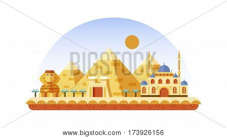 Stock vector illustration background icon in flat style architecture buildings and monuments town city country travel Egypt, Egyptian pyramids, Sphinx, Cairo, Egyptian Culture, deserts flat style