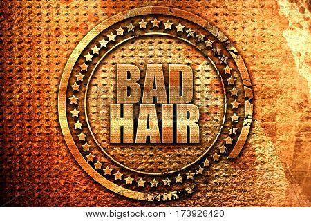 bad hair, 3D rendering, metal text