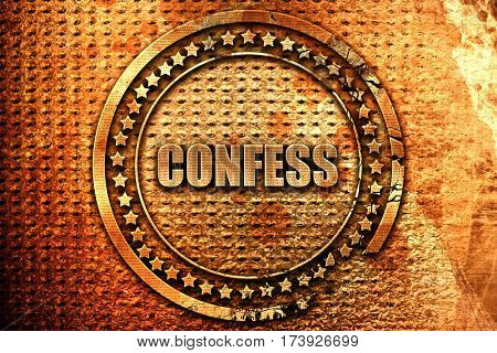 confess, 3D rendering, metal text
