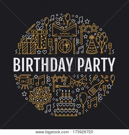Event agency, birthday party banner with vector line icon of catering, birthday cake, balloon decoration, flower delivery, invitation card, entertainment. Thin linear sign party organization service. poster