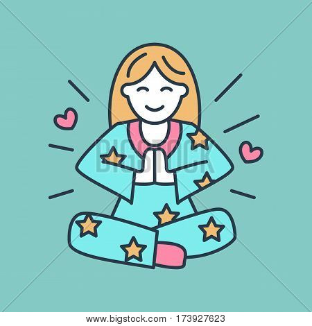 Smiling girl in padmasana, yoga line logo. Icon of woman meditation, relaxation and love energy. Vector illustration for spiritual development center, pink color.