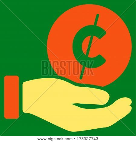 Cent Payment Hand vector pictograph. Illustration style is a flat iconic bicolor orange and yellow symbol on green background.