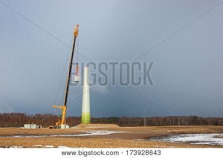 WIND FARM - the construction of a wind turbine prefabricated