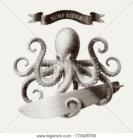 Vector octopus tentacles holding a surfboard in the style of vintage etchings. Eps8. RGB Global colors