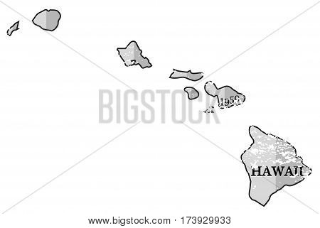 Hawaii State And Date Map Grunged