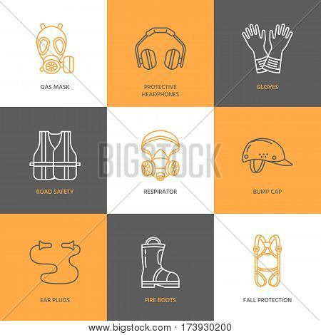 Personal protective equipment line icons. Gas mask, headphones, respirator, bump cap, ear plugs and safety work garment. Health protection thin linear signs.