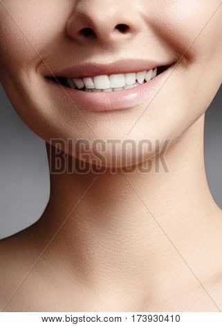 Wide Smile Of Young Beautiful Woman, Perfect Healthy White Teeth. Dental Whitening, Ortodont, Care T
