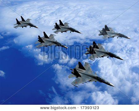 Mit militärischen Somoletov fliegen in den Himmel