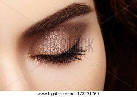 Close-up Macro Of Beautiful Female Eye With Perfect Shape Eyebrows. Clean Skin, Fashion Naturel Make