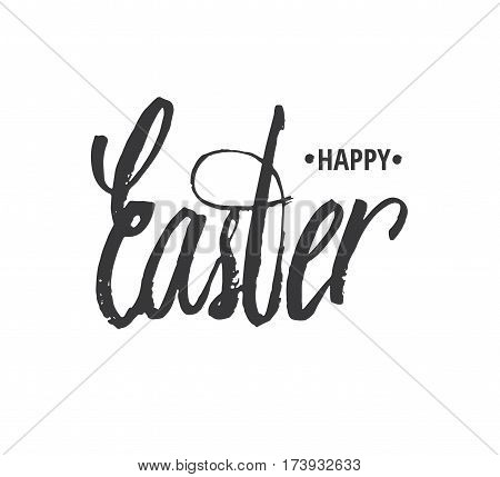 Happy easter. Hand written Easter phrases .Greeting card text templates with Easter eggs isolated on white background. Happy easter lettering modern calligraphy style. Vector illustration