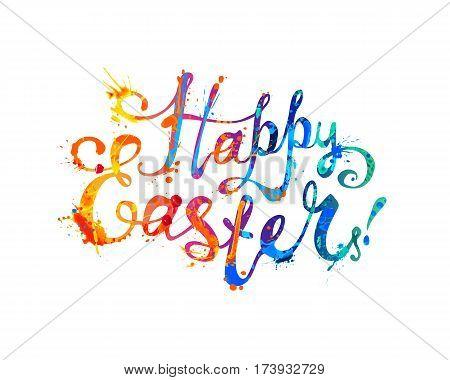 Happy Easter Card. Hand Written Inscription