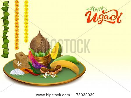 Happy Ugadi. Template greeting card Set Holiday accessories. Gold pot, coconut, sugar, salt, pepper, banana, mango. Vector food illustration
