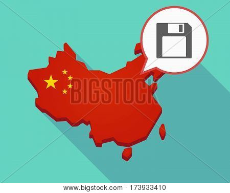 Map Of China With A Floppy Disk
