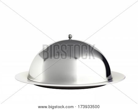 Restaurant Cloche With Close Lid 3D Render No Shadow