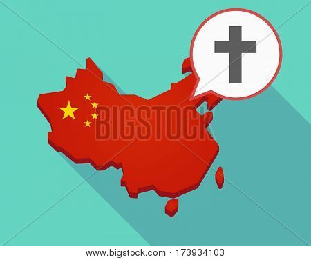 Map Of China With A Christian Cross