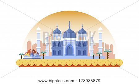 Stock vector illustration background icon in flat style architecture buildings monuments town city country travel printed materials, cover, India, monuments, Taj Mahal, New Delhi, Culture, Mumbai