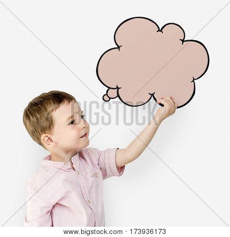 Little Boy Speech Bubble Studio Portrait Concept