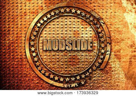 mudslide, 3D rendering, metal text