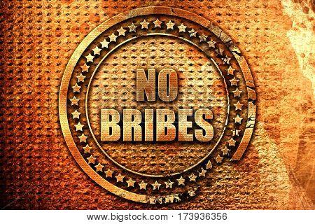 no bribes, 3D rendering, metal text