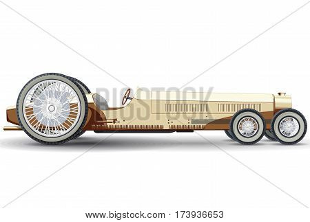 Overly long car looks like limousine. Ancient creamy car with six wheels made in contour lines. Yellow colored car isolated on white background. Historical master vector illustration.