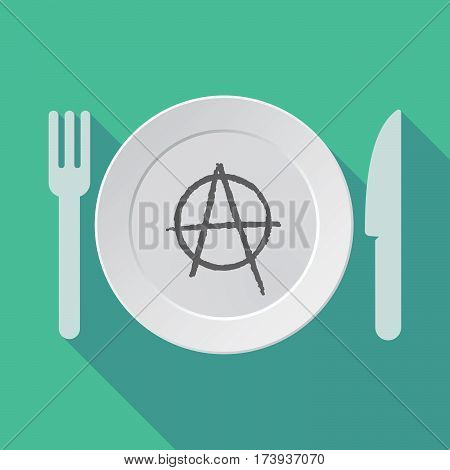 Long Shadow Dishware With An Anarchy Sign