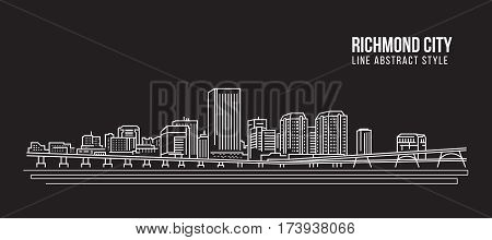 Cityscape Building Line art Vector Illustration design - Richmond city