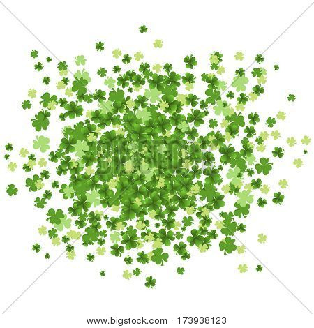 Green clover leaves in cloud splash isolated on white background. St Patrick Day green vector splash with clover leaves. Vector illustration