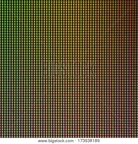 Closeup LED diode from LED TV and LED monitor screen display panel. Colorful LED screen for background and design with copy space for text or image.