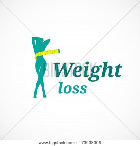 Silhouette woman weight loss slim body shape isolated on white background