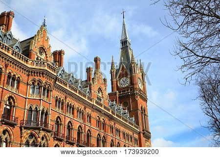 LONDON, UK - FEBRUARY 28, 2017: Exterior view of St Pancras Railway Station. This building  now houses the luxury St Pancras Renaissance Hotel