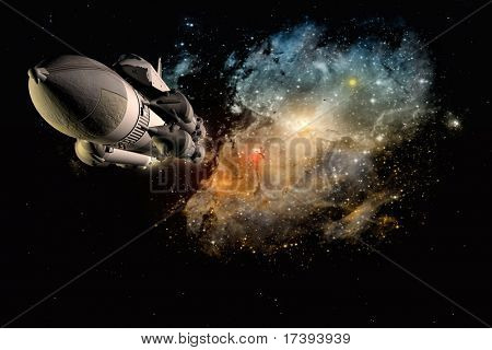 Raumtransport auf einem Hintergrund des Himmels