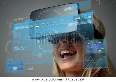 technology, augmented reality, entertainment and people concept - close up of young woman with virtual headset or 3d glasses and screen sprojection