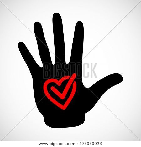 Black hand and check list button icon concept. Check mark in in heart sign emblem. Hands icon illustration.