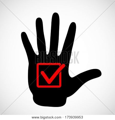 Black hand and check list button icon concept. Check mark in in box sign emblem. Hands icon illustration.
