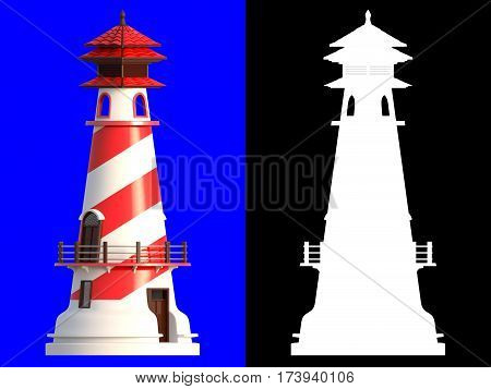 3D rendering of lighthouse isolated on blue background with clipping paths and alpha channel section for an easy split background.