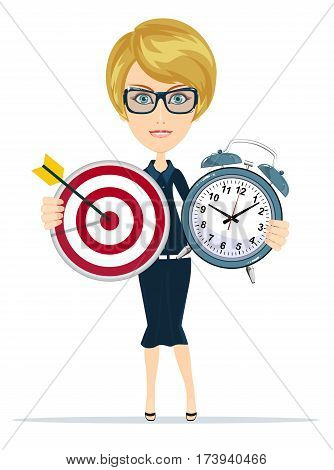 Time management and targeting concept with businesswoman. Business character holding Marketing target with arrow and clock . Isolated on white background. Stock vector illustration