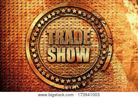 trade show, 3D rendering, metal text