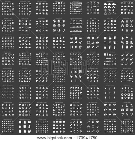 Big Collection Of Vector White Basic Icons. 64 Different Set. 1286 Icons.