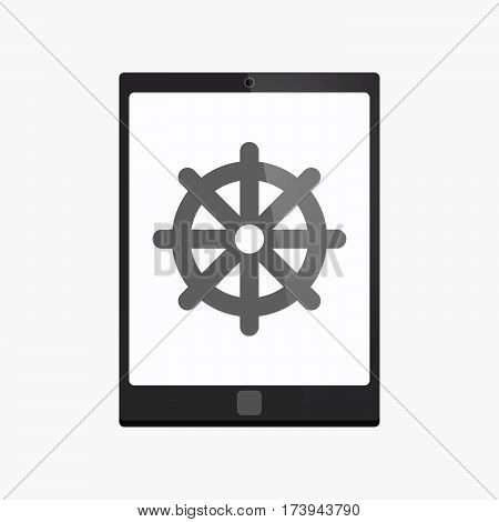Isolated Tablet Pc With A Dharma Chakra Sign