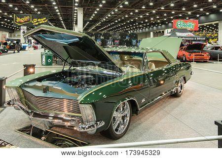 DETROIT MI/USA - February 25 2017: A 1964 Buick Riviera car interpretation on display at the Detroit Autorama, a showcase of custom and restored cars.