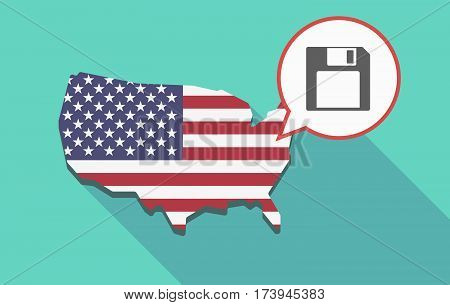 Usa Map With A Floppy Disk