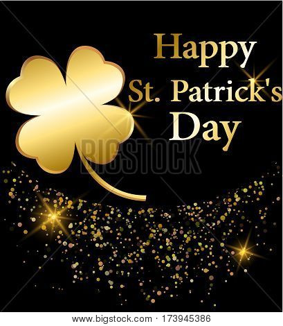 Golden clover for St. Patrick's day and glittering dots at the bottom. Greeting card. Four leaf clover made of gold black backdrop. Vector illustration