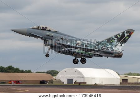 German Luftwaffe Typhoon Lands At Riat